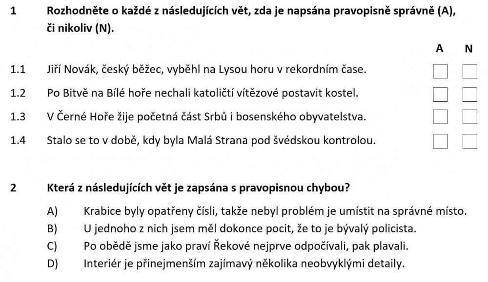 pravidla českého pravopisu - ukázka zadání