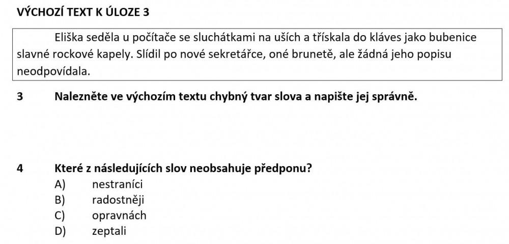 zadání přijímacích zkoušek z češtiny