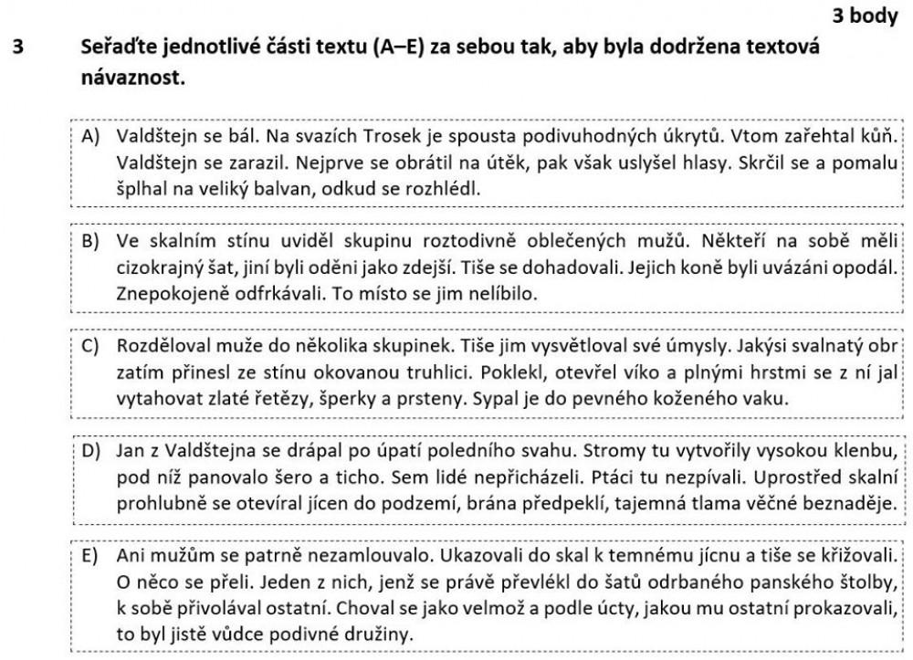 zadání přijímaček z češtiny